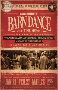 Fort Collins Square Dance, January 23, February 27, and March 26 at Wolverine Farm Letterpress & Publick House